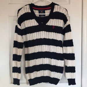 Striped US Polo Association Cable Knit Sweater